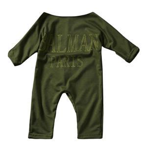 Newborn Infant Kids Boat Neck Letter Printed Jumpsuit Bodysuit Clothes Outfit army green S/M/L/XL