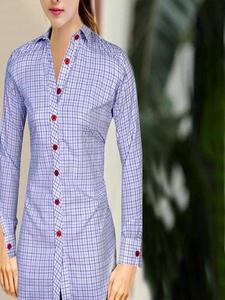 White and Blue Check Shirt For Women
