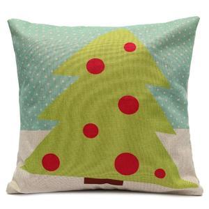 Decorative Cartoon Merry Christmas Tree Snowman Pillow Case Car Cushion Cover Home Decor (Red Christmas Tree)