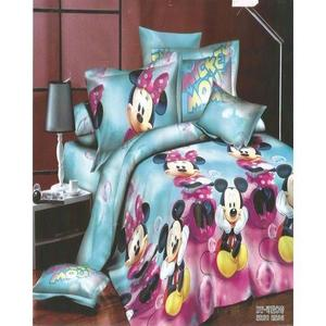 Kids Bed Sheet Cartoon Character - Mickey Mouse - 3D Design Single Bed For Boys
