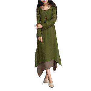 PASSWORD Long Linen Kurti For Women - Green