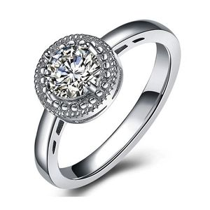 White Gold Color Round Zirconia Ring Mirror Finish AAA Quality