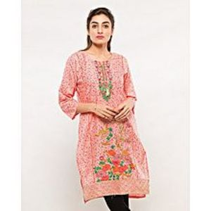 FISH Teapink Embroidered Kurta