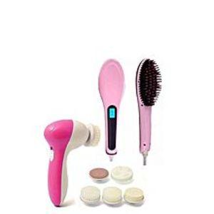 FASTPack of 2 - Fast Hair Straightener Brush & Face Massager - Pink