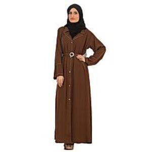 KhadijazBrown Iranian Coat Abaya with Dupatta for Women- SM11