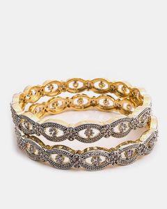 Jewellery Hut 1k Gold Plated Crushed Zirconia Adrains Bangles