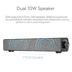 Loveliness 20W Bluetooth Soundbar Speaker Sound Bar TV Home Theater Subwoofer For Laptop PC