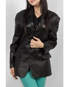 Black Sheep Leather Three Button Coat For Women - WC-725