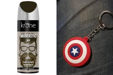 Pack of 2 - Krone Mantastic Deodorant for Men & Captain America Keychain Free