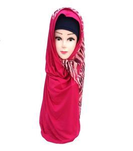Pink Polyester Turkish Hijab Shawl for Women