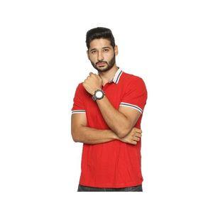 Red Cotton Pique Polo Shirt for Men