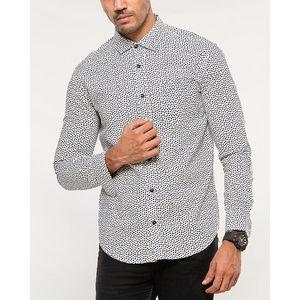 Denizen White with Black Cotton Woven Shirt for Men