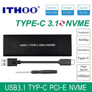 ITHOO NVME USB3.1 TO PCI-E NVNE NGFF SSD HDD Enclosure C3.1 M.2 to USB