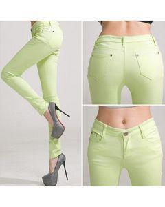 The Ajmery Womens Pista Green Skinny Jeans - BB-00026