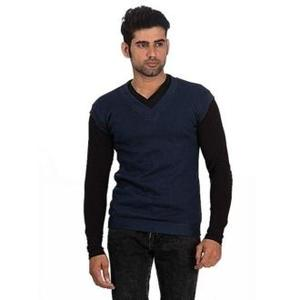 Hit & Fit Collection Blue Cashmere Sleeveless Sweater For Men