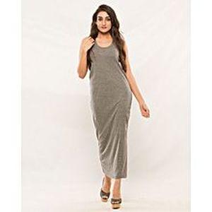 EssentialsGrey Cotton Jersey Maxi Dress For Women