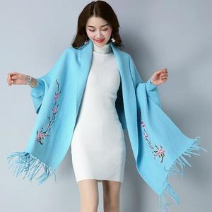 Designer Sky Blue Flower Shawl For Women
