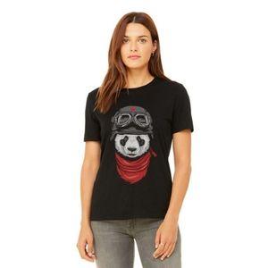AR Center Flying Panda T-Shirts For Women - Black