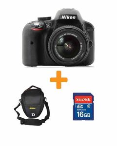 Nikon D3300 - 24.2 MP - 3.0x - DSLR Camera + 18-55mm Lens + 16GB Card + Bag - Black