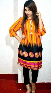 Printed Khaddar Stitched Kurta For Girls
