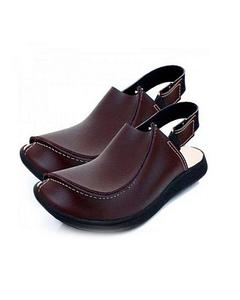 Woodland Brown Rexin Traditional Peshawari Sandals for Men
