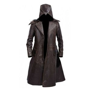 SUPER DISCOUNT GHOST FAUX LEATHER HAND MADE Dark Brown Long Coat for Men