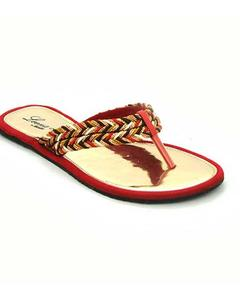 Leena Red Open Synthetic Sheet slippers/Sandal for Women