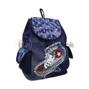 Fabric & Jeans Style Bag - 3 Pockets Women, Ladies & Girls Backpack