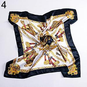 Amamia 90 x 90cm Square Women Imitated Silk Satin Carriage Chain Neck Head Scarf Shawl
