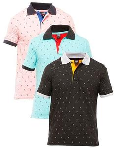 Pack of 3 - Multicolor Cotton Polo Printed T-shirts For Men