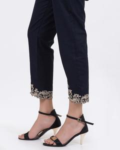 Bonanza Satrangi - N-Blue Slub Embroidered Cigarette Pants For Women - LTS-239-12