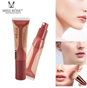 MISS ROSE Liquid BB Cream Base Face Full Cover Concealer Makeup Waterproof Foundation Beauty Make Up for All Skin BEIGE 1