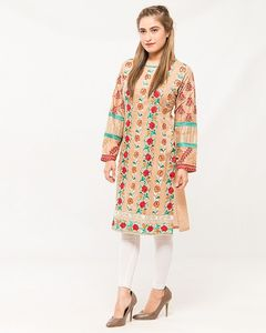 dOrhni Casuals Beige Rose Embroidered Lawn Kurti For Women