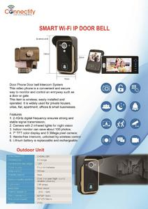 Smart Wireless (wifi) Video Intercom Doorphone with Wireless Electronic Lock and Wireless (wifi) Doorbell