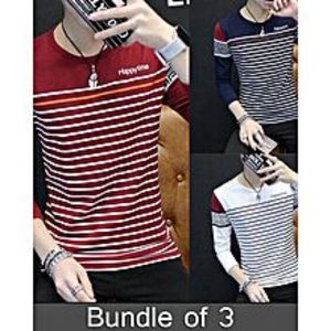 super bazarPack Of 3 Yarn Dyed Designer T-Shirt'S