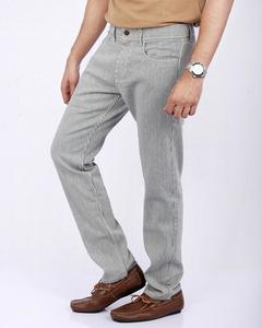 White & Grey Striped Cotton Denim Jeans with Straight-leg for Men - Relaxed-fit