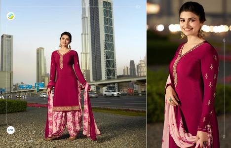 Indian Designer Dress wtih printed Patiyala Shalwar - 3p