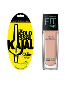 Maybelline New York Fit Me Matte + Poreless Foundation - Light Shade (30ml) With Free Kajal