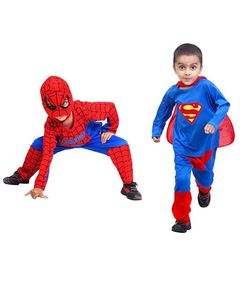 Sooperdotpk Pack of 2 - Multicolor Polyester Spiderman & Superman Dress Costume for Boys