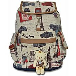 Bags Collection Beige Canvas Backpack For Women