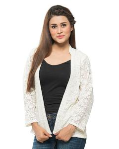 White Net Embroidered Jacket For Women