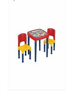 Baby Table & 2 Chairs Plastic Set With Multicolor