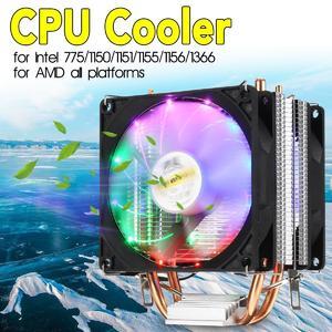 【Free Shipping + Flash Deal】CPU Cooler 2 Heatpipe 2x LED RGB Fan 90mm for LGA 775/1155/1151/1150/1366 AMD