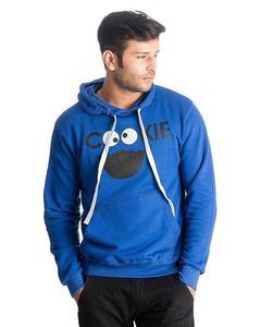 Royal Blue Cookie Monster Printed Cotton & Wool Hoodie for Men