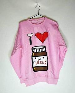 Pink I Love Nutella Print Sweat Shirt For Her