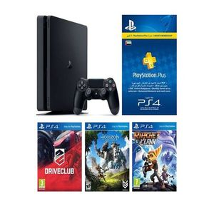 Play Station 4 HITS Bundle 500GB+ Horizon Zero Dawn, Ratchet & Clank, Driveclub + 3 Month PS Plus