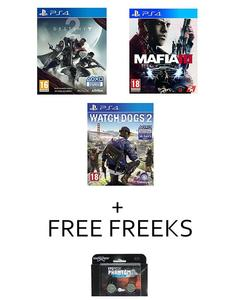 Pack of 3 - PS4 Platinum Hits - destiny 2 mafia 3 & watch dogs 2 + free kontrol freeks