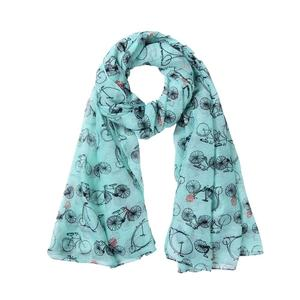 Women Printed Bicycle Soft Chiffon Shawl Wrap Wraps Scarf Scarves