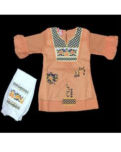 Orange Color Fancy Embroidered Kurti With White Printed Tights For Girls
