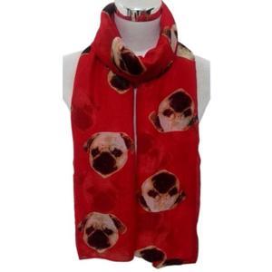 Lady Womens Long Cute Pug Dog Print Scarf Wraps Shawl Soft Scarves